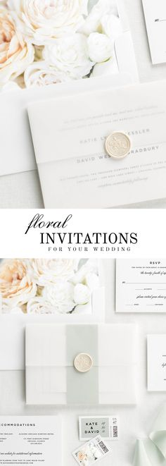 The Classic Urban wedding invitation suite is paired with Grace florals. Grace features white and ivory garden roses and white spray roses.