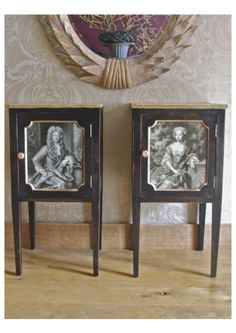 'His & Hers' Cabinets - Victorian Mahogany Pot Cupboards - Black and Gold Leaf distressed finish with Decopauged 18thC Mezzotints to front Panels £1450