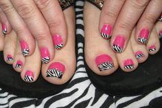 Image detail for -Zebra Stripe Nail Art | Popular Chick Love Nails, How To Do Nails, Fun Nails, Pretty Nails, Colorful Nail Designs, Toe Nail Designs, Nail Polish Designs, Pedicure Designs, Zebra Stripe Nails