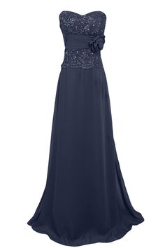 Tidetell.com Elegant Sweetheart A-line Floor Length Chiffon Lace Navy Evening Dress With Sash Flower Sequins