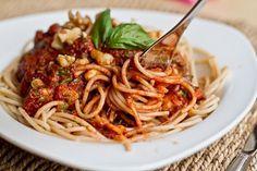 Tomato Walnut Basil Pasta