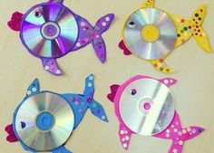 Bastelarbeiten CD Crafts: 70 ideas and tutorials step by step - new decoration styles Perhaps one of Cd Fish Crafts, Crafts With Cds, Kids Crafts, Ocean Crafts, Summer Crafts, Arts And Crafts, Paper Crafts, Unicorn Crafts, Cd Art