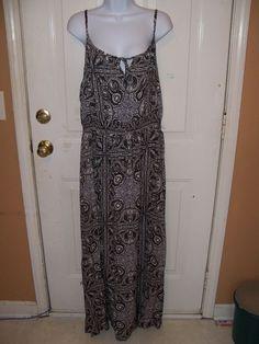 Faded Glory Black Combo Rayon Challis Maxi Dress Size XL (16/18) NEW #FadedGlory #Maxi #SummerBeach