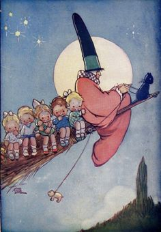 Off With Mother Goose Mabel Lucie Attwell 1927 Vintage Lithograph Nursery Illustration To Frame