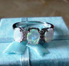 Trinity White Round Simulated Opal White GP Cocktail Silver Ring #Unbranded #Cocktail