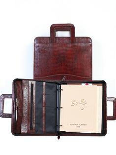 Scully Accessories Brown Lizard Leather Drop Handle 3 Ring Binder