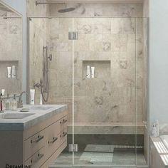 """DreamLine Unidoor-X 64"""" x 72"""" Hinged Shower Door Trim Finish: Brushed Nickel"""