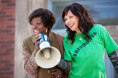 "Viola Davis, left, and Maggie Gyllenhaal star in ""Won't Back Down"". Movie shows importance of parent and community involvement in public school system"