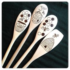 Custom Wood Burned Spoons, Bees 'n' Honey, set of 4