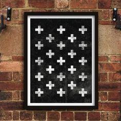 Scandinavian Swiss Cross http://www.notonthehighstreet.com/themotivatedtype/product/scandinavian-swiss-cross-black-and-white-art-print @notonthehighst #notonthehighstreet
