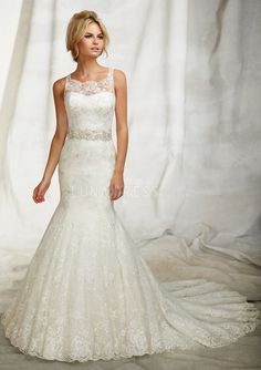 Lace Mermaid Square Sleeveless Floor Length Graceful Wedding Dresses