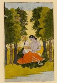 Radha and Krishna embracing in forest. Opaque watercolour on paper, India, Punjab Hills (Pahari), ca. 1790