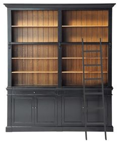 Versailles Bookcase - traditional - bookcases cabinets and computer armoires - Maisons du Monde - this would be incredible! Eclectic Bookcases, Classic Bookshelves, Traditional Bookshelves, Black Bookshelf, Library Bookshelves, Bookshelf Plans, Built In Bookcase, Bookshelf Door, Versailles