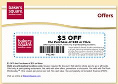 Pinned March 23rd: $5 off $20 at Bakers Square #restaurants #coupons via The Coupons App