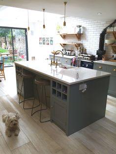 Handmade bespoke kitchens hand painted to plummet! Barn Kitchen, Open Plan Kitchen, Kitchen Living, Vintage Kitchen, Kitchen Trends, Kitchen Designs, Kitchen Ideas, Kitchen Paint Colors, Bespoke Kitchens