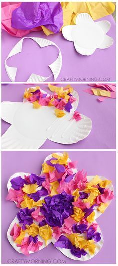 Easy Paper Plate Flower Craft Using Tissue Paper! Cute spring or summer art proj. - Easy Paper Plate Flower Craft Using Tissue Paper! Cute spring or summer art project for kids Summer Art Projects, Spring Crafts For Kids, Summer Crafts, Projects For Kids, Art For Kids, Art Children, Holiday Crafts, Daycare Crafts, Preschool Crafts