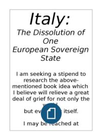 Italy:  The Dissolution of One European Soverign State