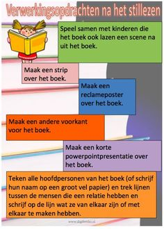 Education and so on .: Reading promotion: After reading . School Info, School Tool, Back To School, Reading Activities, Teaching Reading, Kids Learning, Speech Language Therapy, Speech And Language, Learn Dutch