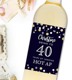 Editable Wine  Label Birthday Gift 40, 50, 60 Navy Blue Gold Glitter       PDF Instant Download Printable