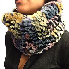 Infinity scarves Elastic knitted genuine rex rabbit by criveropiel