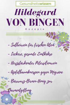 Der freie Katalog voller Hildegard von Bingen-Rezepte: Die bekanntesten Klassiker aus der Hildegard-Medizin, aber auch einige bislang relativ unbekannte Schätzchen. Es gibt einiges an Hausmitteln und wirkungsvoller Natur-Alternativen aus dem Arznei-Schrank der Hildegard von Bingen. Rezepte um Rückenleiden zu mindern oder auch Migräne entgegenzuwirken. Mein Favorit: Die Zimtkekse, die aber vorallem  Hildegard-Medizin sind! ;)