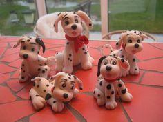 Cachorrinhos Dalmatas - biscuit / Porcelana fria - Clau Schroeder