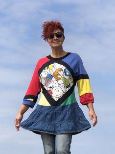 Snoopy Tunic Dress Wearable Art Colourful Comic Cartoon Print | Etsy Redo Clothes, Clothing Redo, Spring Jackets, Patchwork Dress, Denim Coat, Mori Girl, Different Fabrics, Refashion, Wearable Art