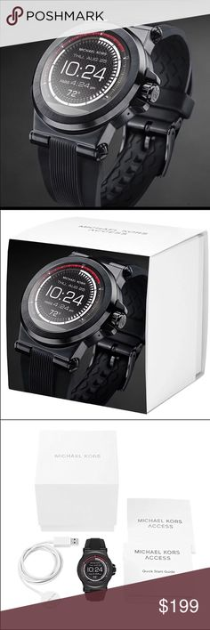 Michael Kors Access Touchscreen Smartwatch New in box! Retails for $350  Technology meets style with this Michael Kors Access Watch. Fully personalize your watch by selecting or customizing the watch face of your choice and changing out the straps to match your activity or look.Stay connected  Featured in black Smart watch Compatible with: Android Devices 4.3+, iOS 8+ / iPhone 5 +, iOS 7+ / iPhone 4s+ Receive notifications for calls, texts, and emails Tracks fitness goals by tracking steps…
