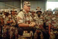 Schwarzkopf's Life Advice on Making Friends --U. Norman H. Schwarzkopf, commander of U. Central Command, speaks to U. soldiers inside a hangar while visiting a base camp during Operation Desert Shield, April Iraqi President, Operation Desert Shield, Military First, Military Army, Military History, Iraqi Army, United Nations Security Council, 25 Year Anniversary, Wounded Warrior Project