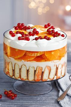 Feast your eyes on this spectacular boozy pud, layered with Aperol-soaked sponge, silky custard, seasonal clementines, prosecco jelly and pillowy cream. You can also make it alcohol-free - simply swap out the Aperol for fresh clementine juice and the prosecco for sparkling white grape juice. | Tesco