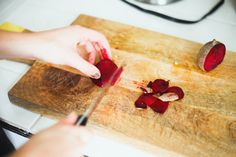 We loved this homemade lip & cheek stain! It looks great, such a pretty  natural shade. You make it as vibrant or subtle as you want depending on  how much you apply/how well you rub it in. I definitely reccommend making  some of this! So cheap, easy, and we found it comparable to Benefit's  Benetint.  1 Beet peeled and chopped  4 Tbs Olive Oil  2 Tbs Honey  Mix ingredients together in a blender or food processor. Blend until  smooth. Apply to your lips, or rub into your cheeks, for a cute…