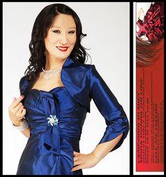 Coprispalle per abito da Cerimonia Sera Sposa blu royal 52 54 56 taglie forti