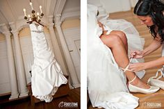Beautiful bridal gown and ballet flats for wedding shoes