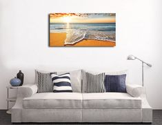 Brilliant Ocean Beach Sunrise Seascape Canvas Print Modern Home Decor Wall Art Large Canvas Prints, Large Canvas Wall Art, Hanging Canvas, Canvas Wall Decor, Diy Canvas Art, Hanging Wall Art, Home Decor Wall Art, Wall Art Prints, Beach Sunrise
