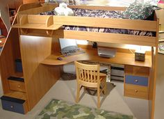 23-905-21 Utica Full High Loft Bed with 5-Stairs and optional Desk $2,543.20
