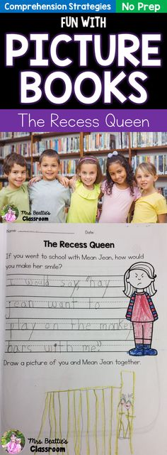 Picture books can inspire the most reluctant of writers! Check out the new Fun With Picture Books series of activities and grab this FREE sample package, for The Recess Queen, from Mrs. Beattie's Classroom #reading #teaching #free #comprehension #ela #literacy #readingresponse