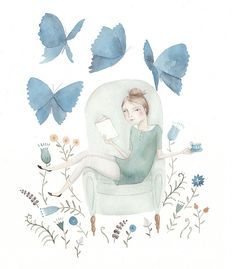 Julianna Swaney - illustration girl in sofa drinking tea with a book and blue butterflies around her, garden and green sofa. I love to read Art And Illustration, Dragonfly Illustration, Creative Illustration, Blue Butterfly, Butterfly Books, Illustrators, Book Art, Artsy, Sketches