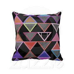 Neon Triangles Pillow