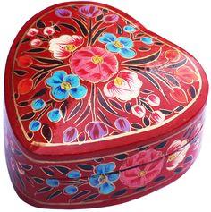 "Flowery Treasures – Handmade Heart-Shaped 4"" Papier Mache Jewelry Box/ Trinket Box/ Keepsake with Colorful Flowers on Red - Buy in Bulk Wholesale"