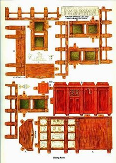 Cut and Assemble Paper Dollhouse Furniture by American Colortype Co. - Dover Publications, Inc., 1981: Page 5 (of 16) Pages 1, 6, 7, 8, 9, 10, 11 and 16 are actually rugs with 1/2 of a rug on each page for a total of 4