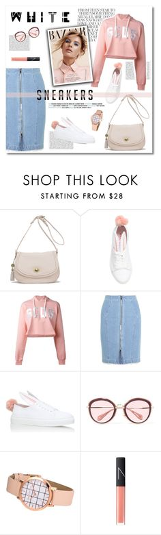 """white sneakers"" by limass ❤ liked on Polyvore featuring Waterlily LA, Minna Parikka, GCDS, Steve J & Yoni P, Miu Miu, NARS Cosmetics and whitesneakers"