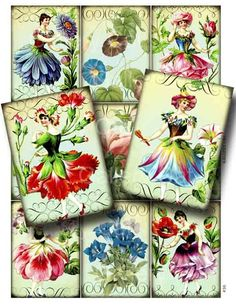 FLOWER FAIRY Digital Collage Sheet CS36 Print It Yourself Paper Crafts Card Decoupage Original Whimsical Altered Art by Gallery Cat. $3.50, via Etsy.