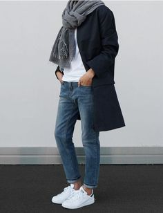 Minimalist outfit with stan smith sneakers, grey scarf, straight leg jeans, white tee shirt, simple chic