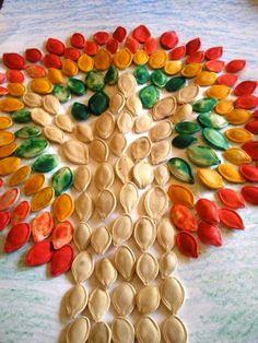 Pumpkin seed mosaic from 25 Autumn Kids Craft Ideas