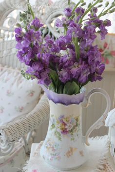 Container of purple flowers