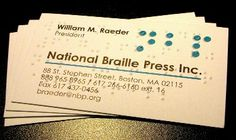 Image Result For How Is Braille Printed On Business Cards