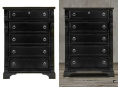 This classic and welcoming black 5-drawes cabinet makes it a comfortable addition to any space with its distressed details, rub through highlighting, heavy top with framed end panels, pewter rings and keyhole accents. This attractive and spacious chest is ideal for a bedroom with its metal glides with built-in stops so you can easily access the contents, dust-proof coating for the lower drawers,felt-lined top drawer and English dovetail construction with solid wood sides and backs.