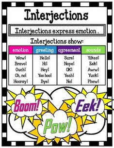 This interjection poster serves as a great visual for students who are learning about interjections. Shrink it and they can glue it right into their notebooks! I personally hang mine up on a skill focus wall.