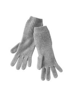 Cashmere waffle gloves from The Gap. Perhaps mittens instead?