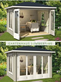 Summer house with large folding door - winsill Folding Doors, Folding House, Outdoor Rooms, Outdoor Living, She Sheds, Diy Shed, Beginner Woodworking Projects, Shed Storage, Wood Working For Beginners